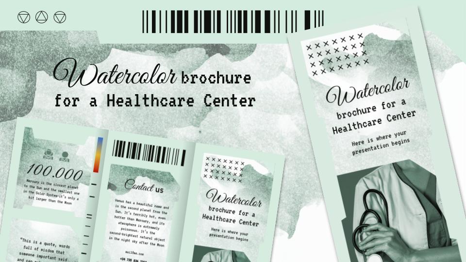 Modelo de apresentação Folheto com aquarela para um centro de saúde