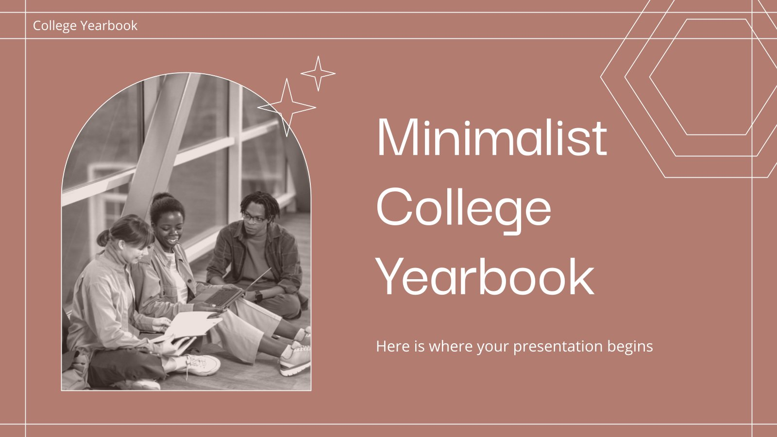 Modelo de apresentação Anuário minimalista para a faculdade