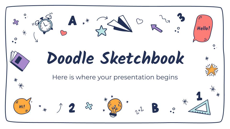 Modelo de apresentação Caderno de desenho com rabiscos