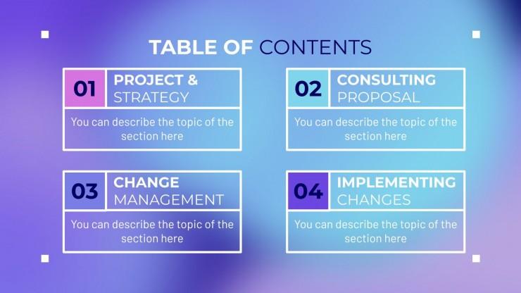 Modelo de apresentação Kit de consultoria abstrato com efeito desfoque
