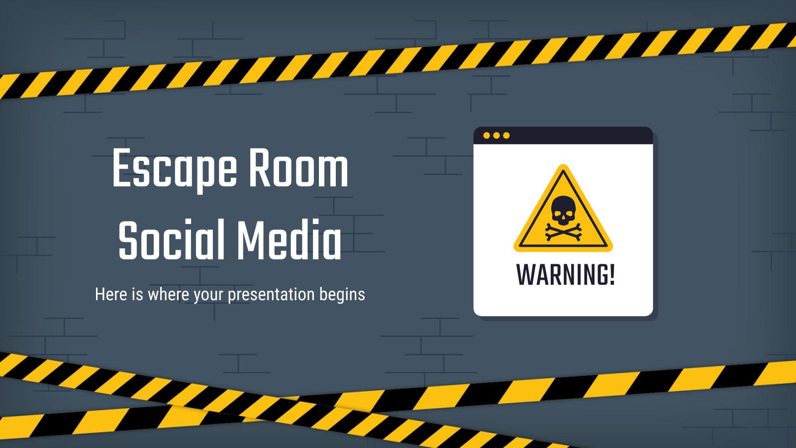 Modelo de apresentação Mídia social de escape room