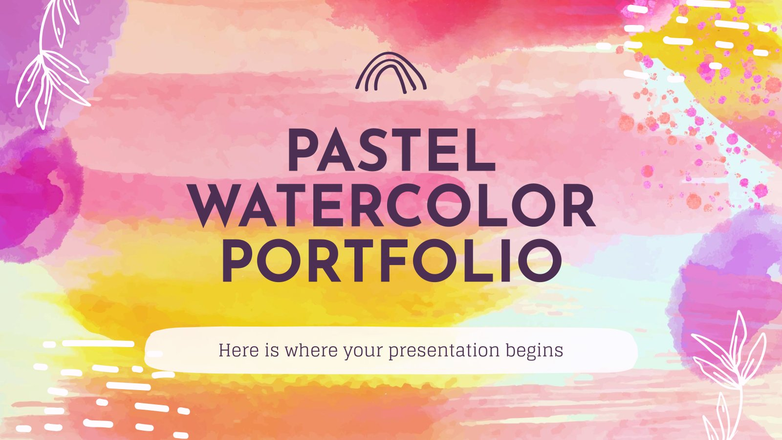 Modelo de apresentação Portfólio pastel em aquarela