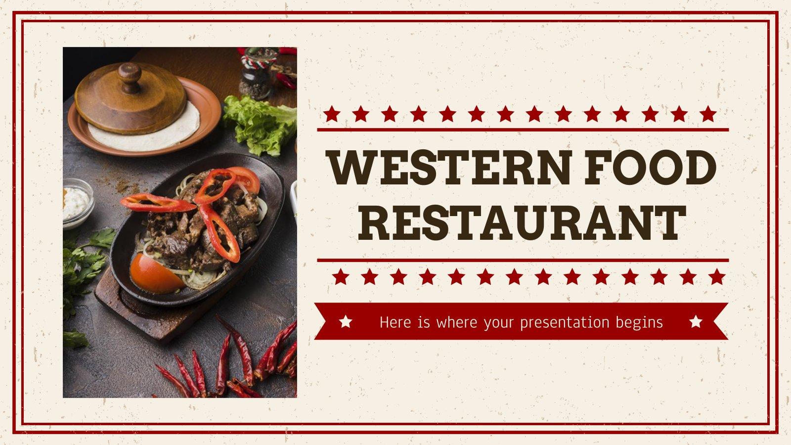 Modelo de apresentação Restaurante de culinária ocidental