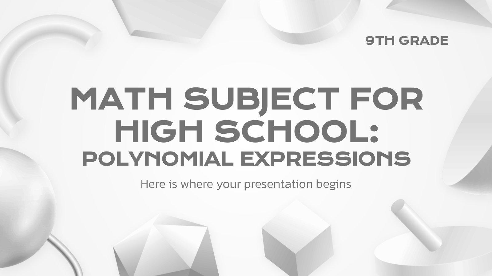 Mathématiques pour le secondaire : Polynômes : Modèles de présentation
