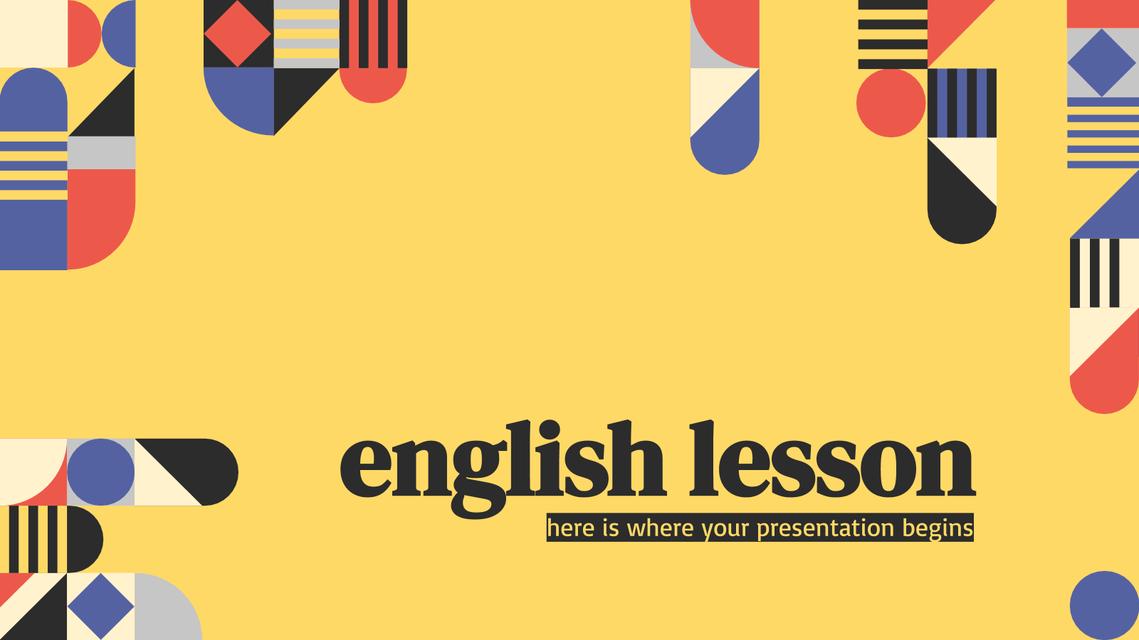 English Lesson presentation template
