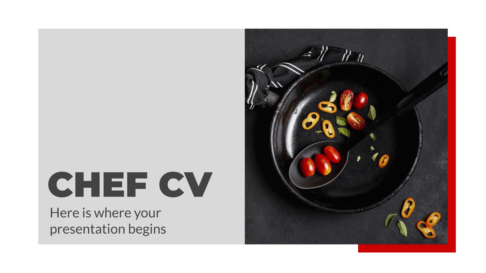 Plantilla de presentación Currículum para chefs