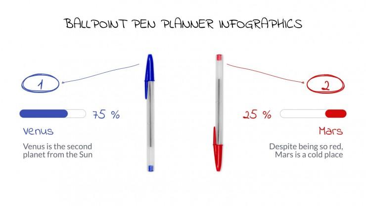 Kugelschreiber Planer Infografiken Präsentationsvorlage