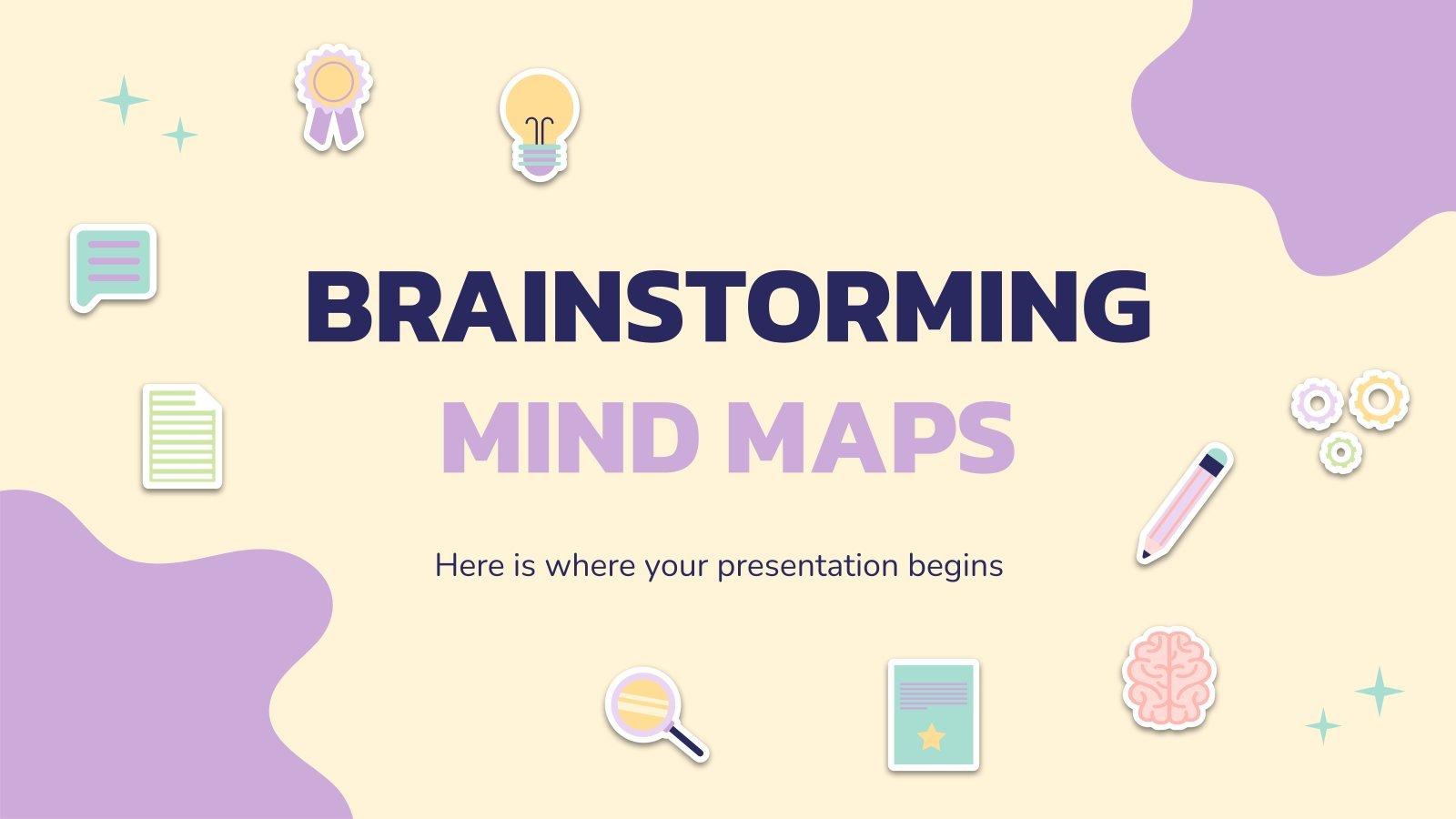 Plantilla de presentación Mapas mentales para brainstorming