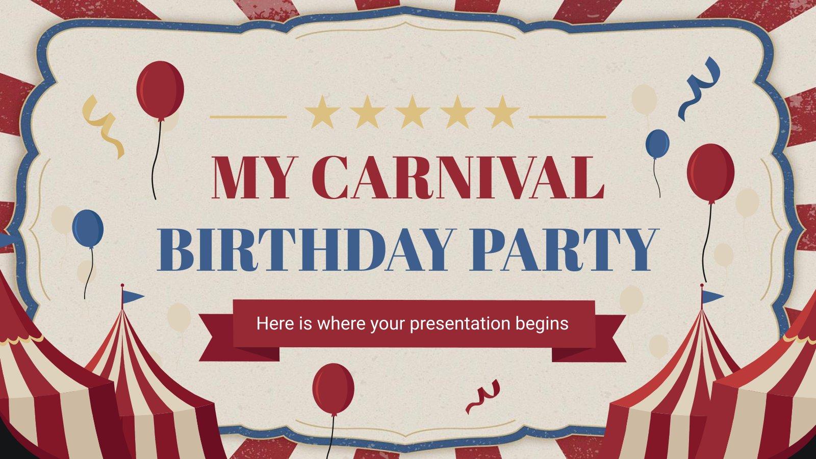 Modelo de apresentação Minha festa de aniversário - Carnaval