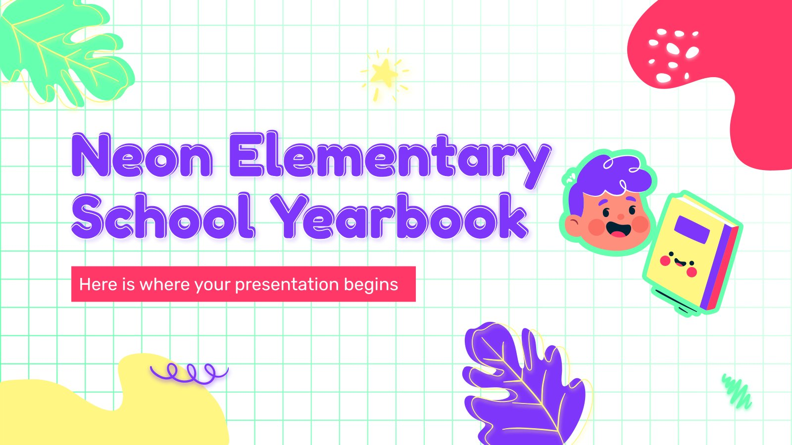 Plantilla de presentación Anuario escolar de primaria con efecto neón