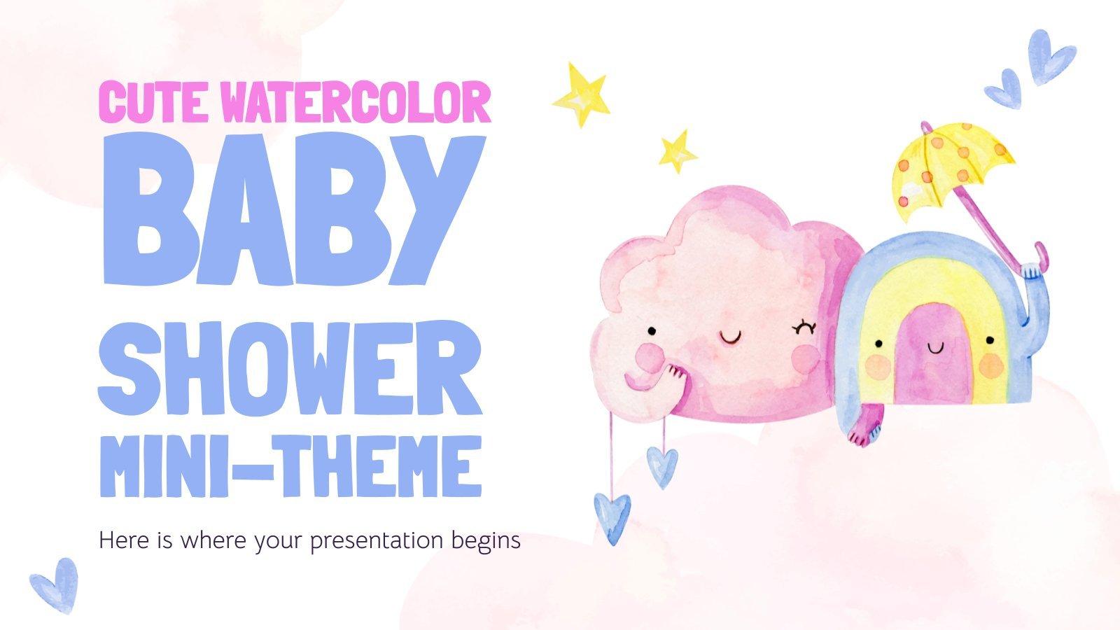 Modelo de apresentação Minitema de baby shower em aquarela