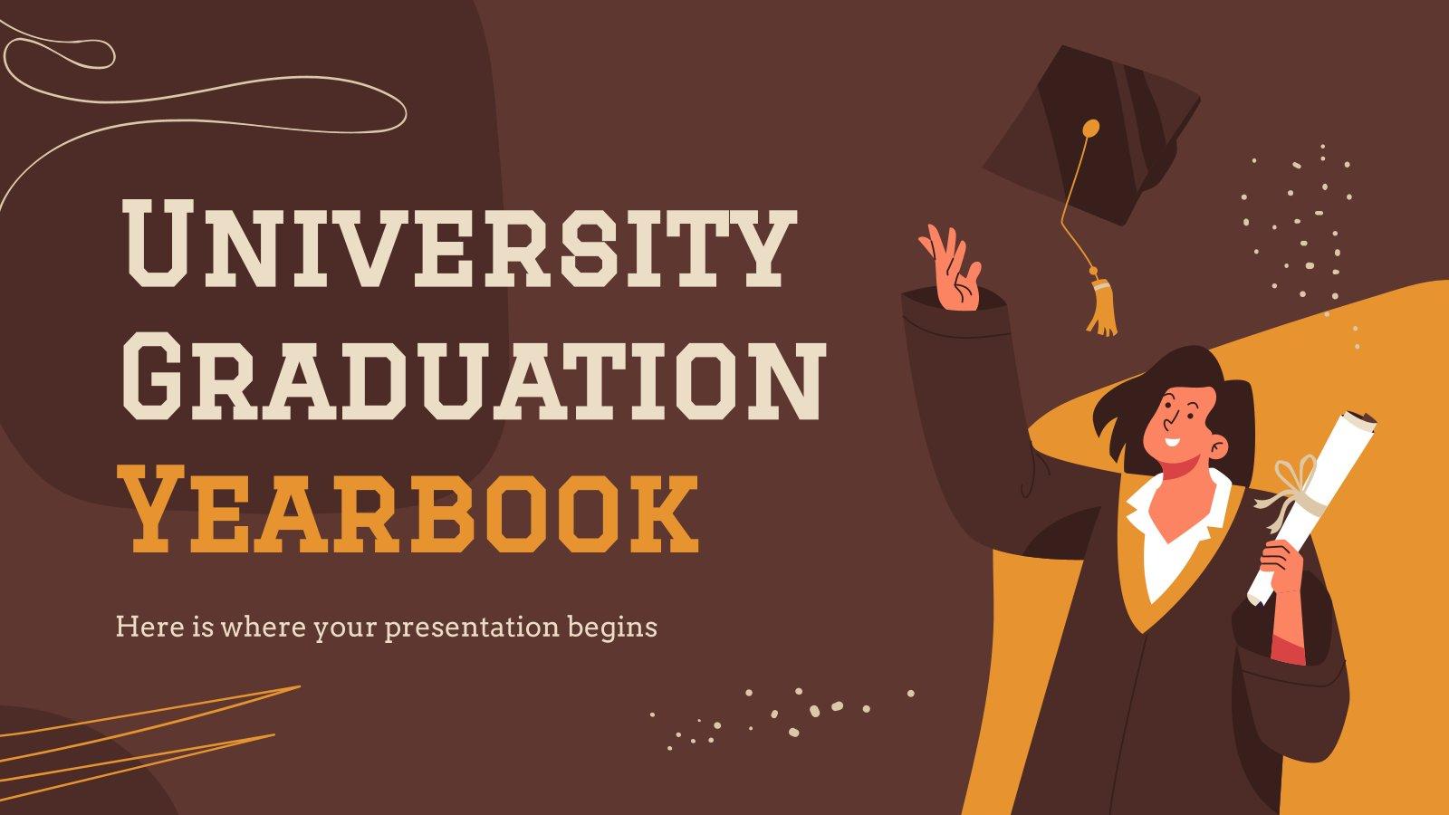 Plantilla de presentación Anuario para la graduación de la universidad