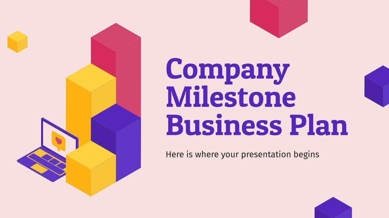 Unternehmen Meilenstein Businessplan Präsentationsvorlage