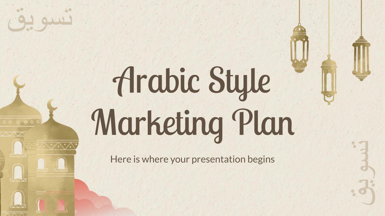 Marketingplan im arabischen Stil Präsentationsvorlage