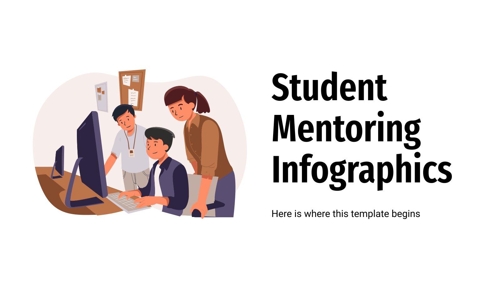 Modelo de apresentação Infográficos de mentoria de estudantes