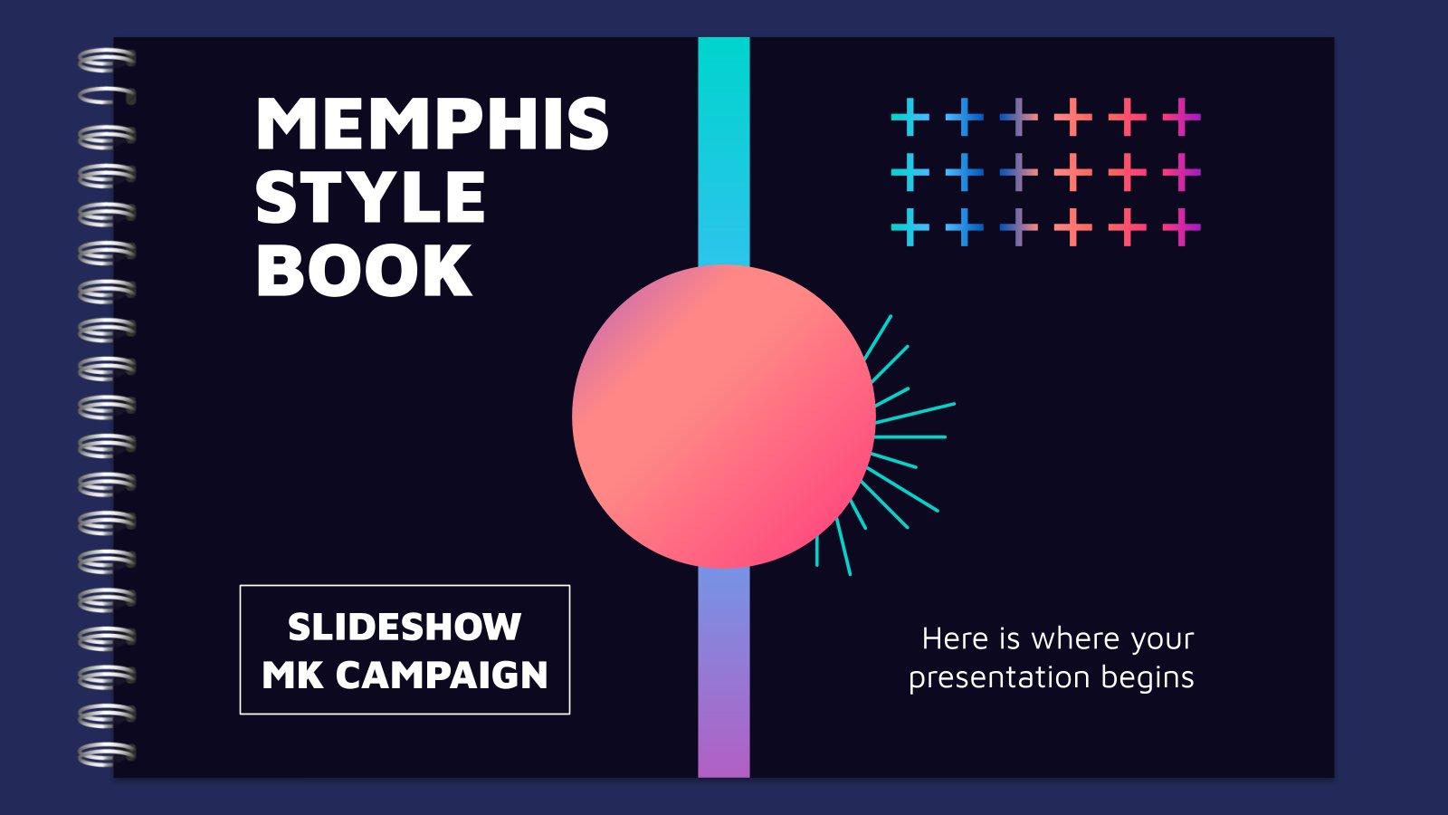 Memphis Style Book Slideshow MK Campaign presentation template