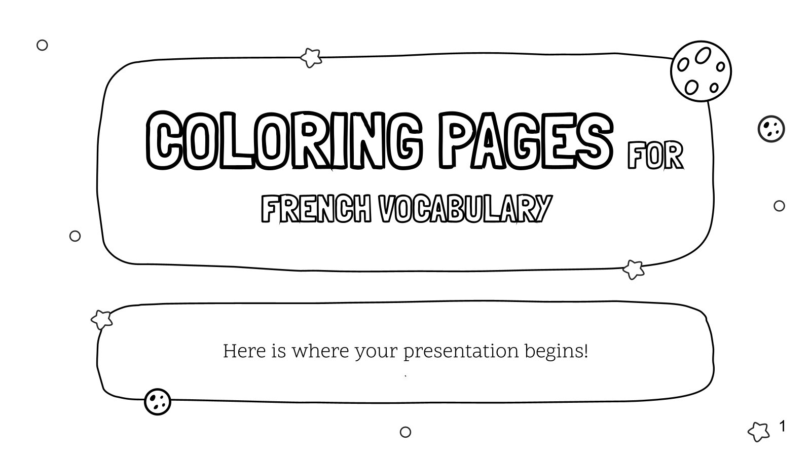 Coloring Pages for French Vocabulary presentation template