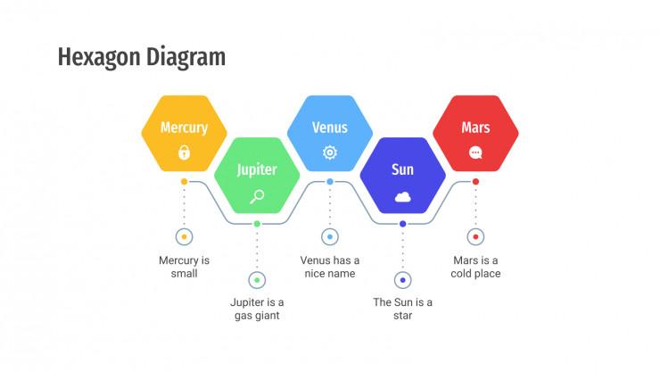 Plantilla de presentación Diagramas hexagonales