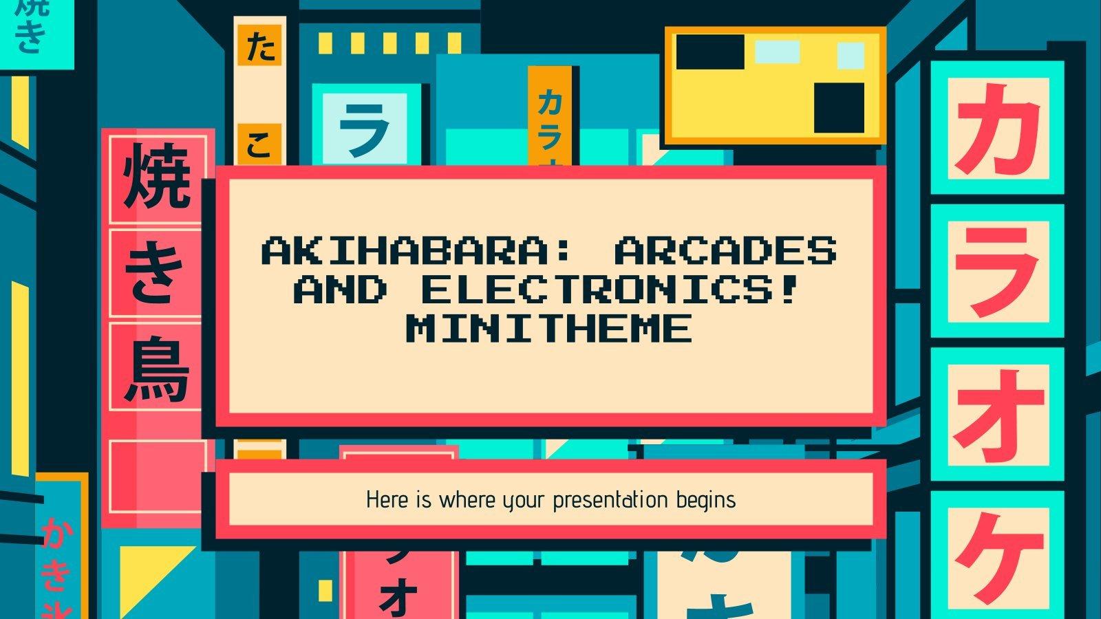 Plantilla de presentación Minitema de Akihabara: ¡Videojuegos y electrónica!
