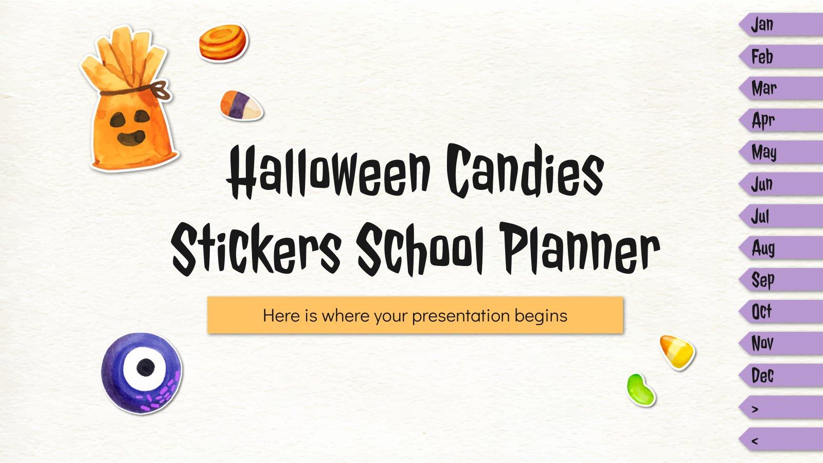 Plantilla de presentación Planner con stickers de halloween