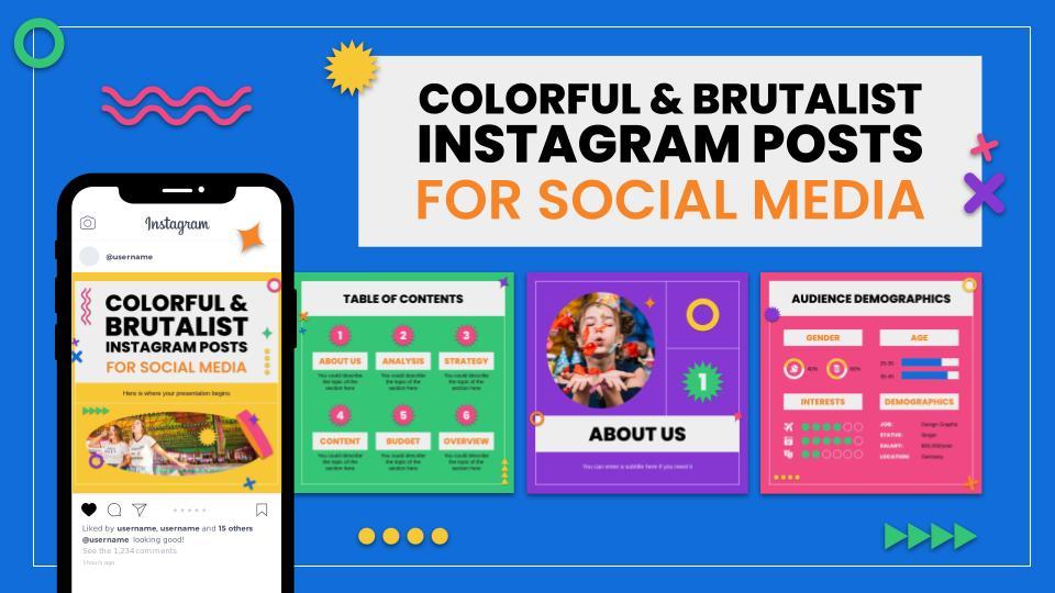 Modelo de apresentação Postagens do Instagram coloridos e brutalistas