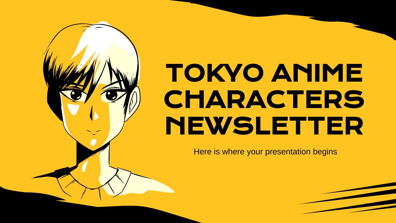 Plantilla de presentación Newsletter con personajes de anime