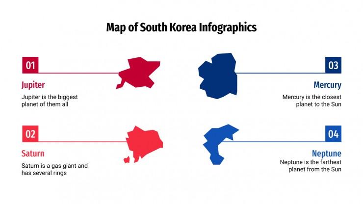 Modelo de apresentação Infográficos com mapas da Coreia do Sul