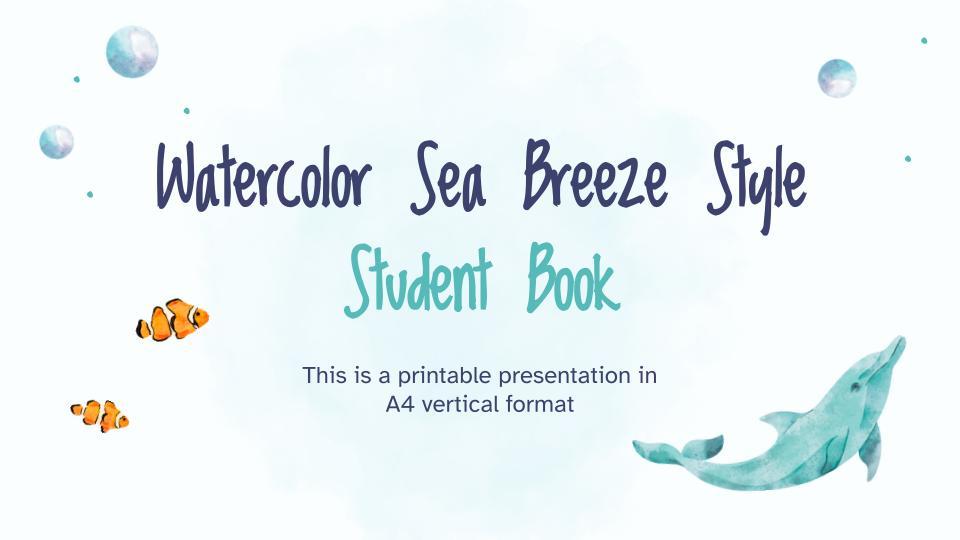 Modelo de apresentação Livro do estudante: Brisa do mar em aquarela