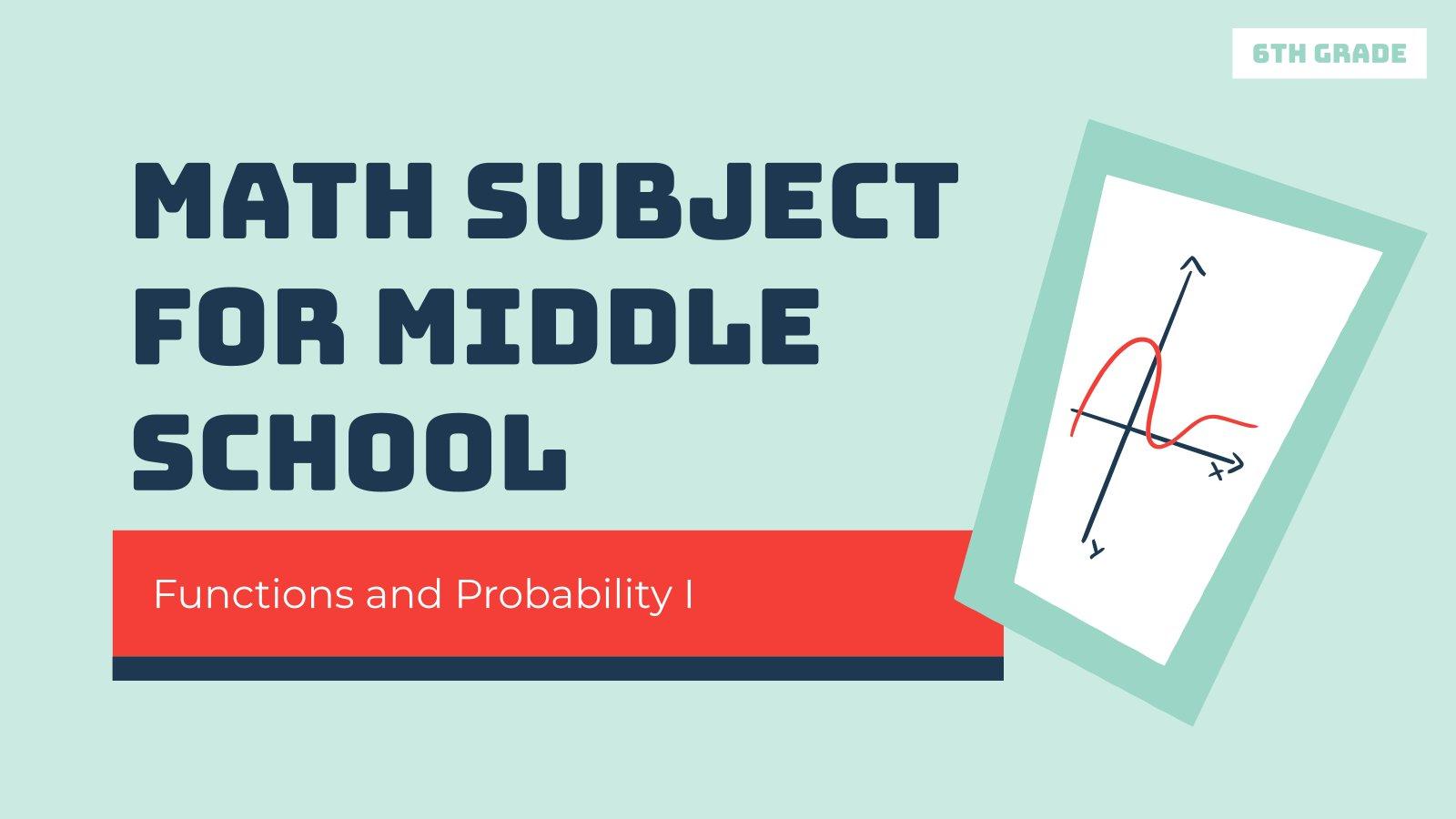 Plantilla de presentación Matemáticas para secundaria: Funciones y probabilidad