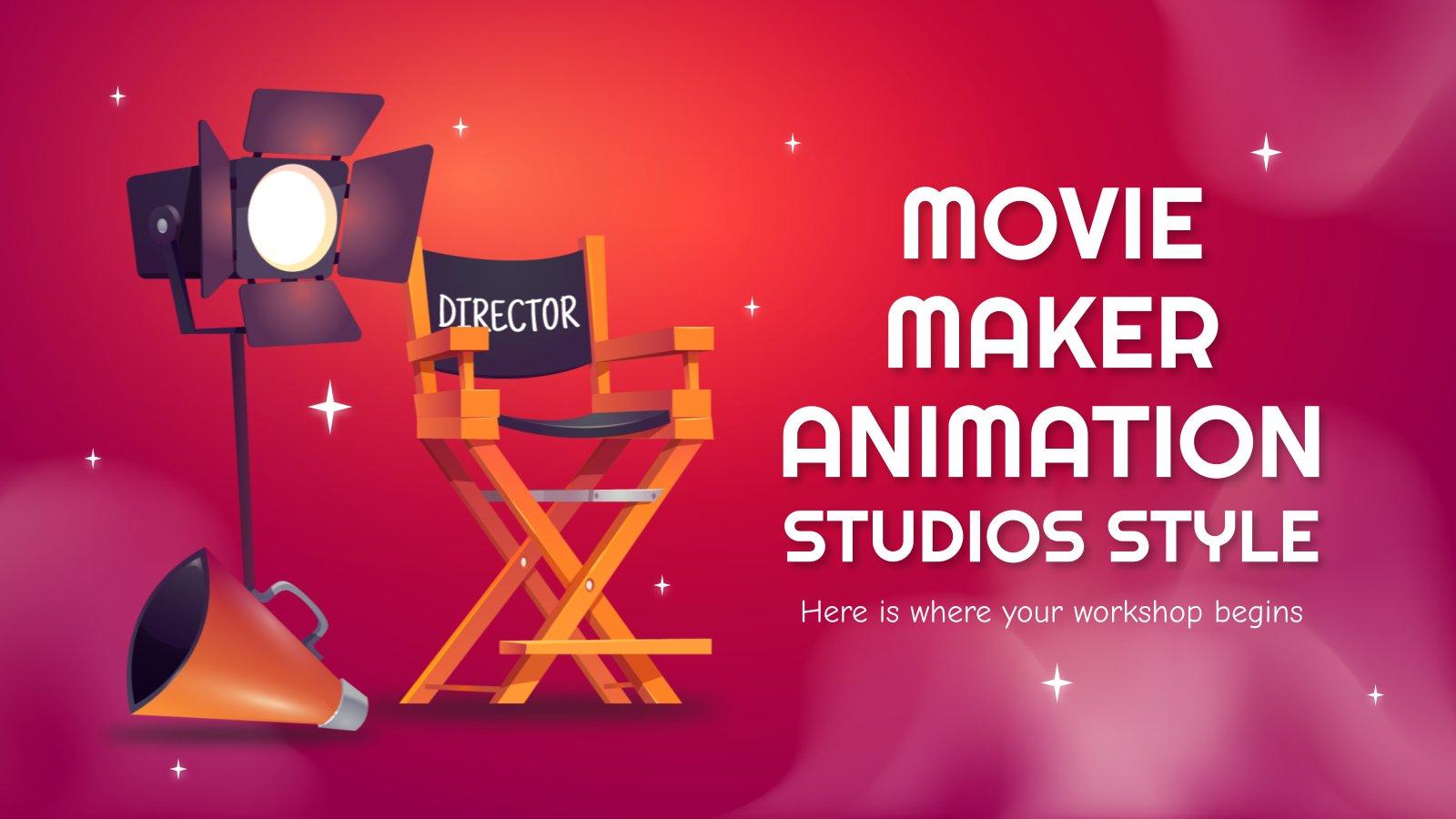 Plantilla de presentación Taller para crear películas de animación