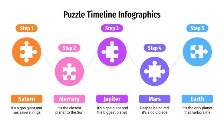 Puzzle Zeitliste Infografiken Präsentationsvorlage
