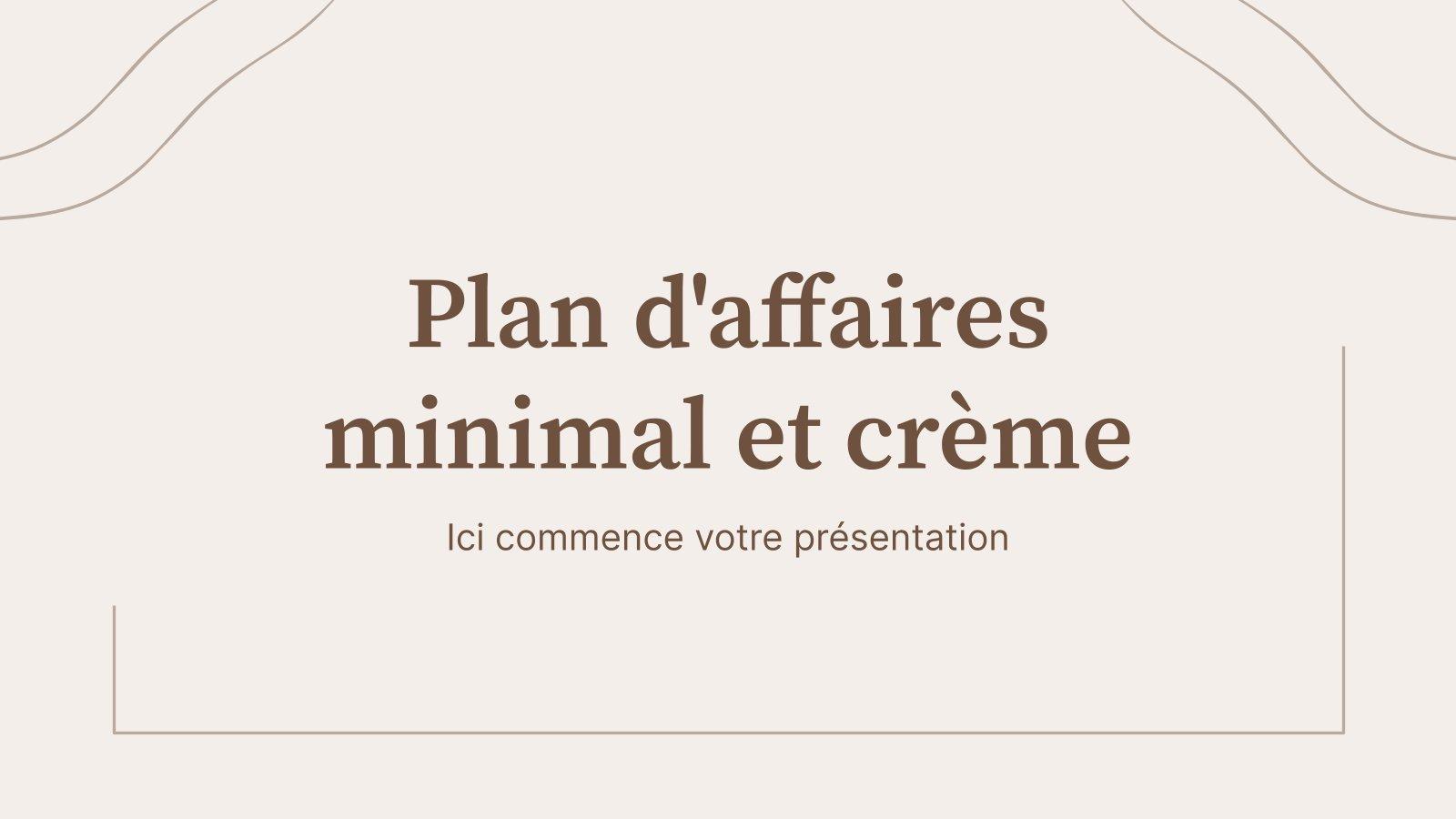 Plan d'affaires minimal et crème : Modèles de présentation