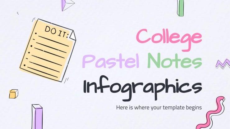 Modelo de apresentação Infográficos notas pastéis para universitários