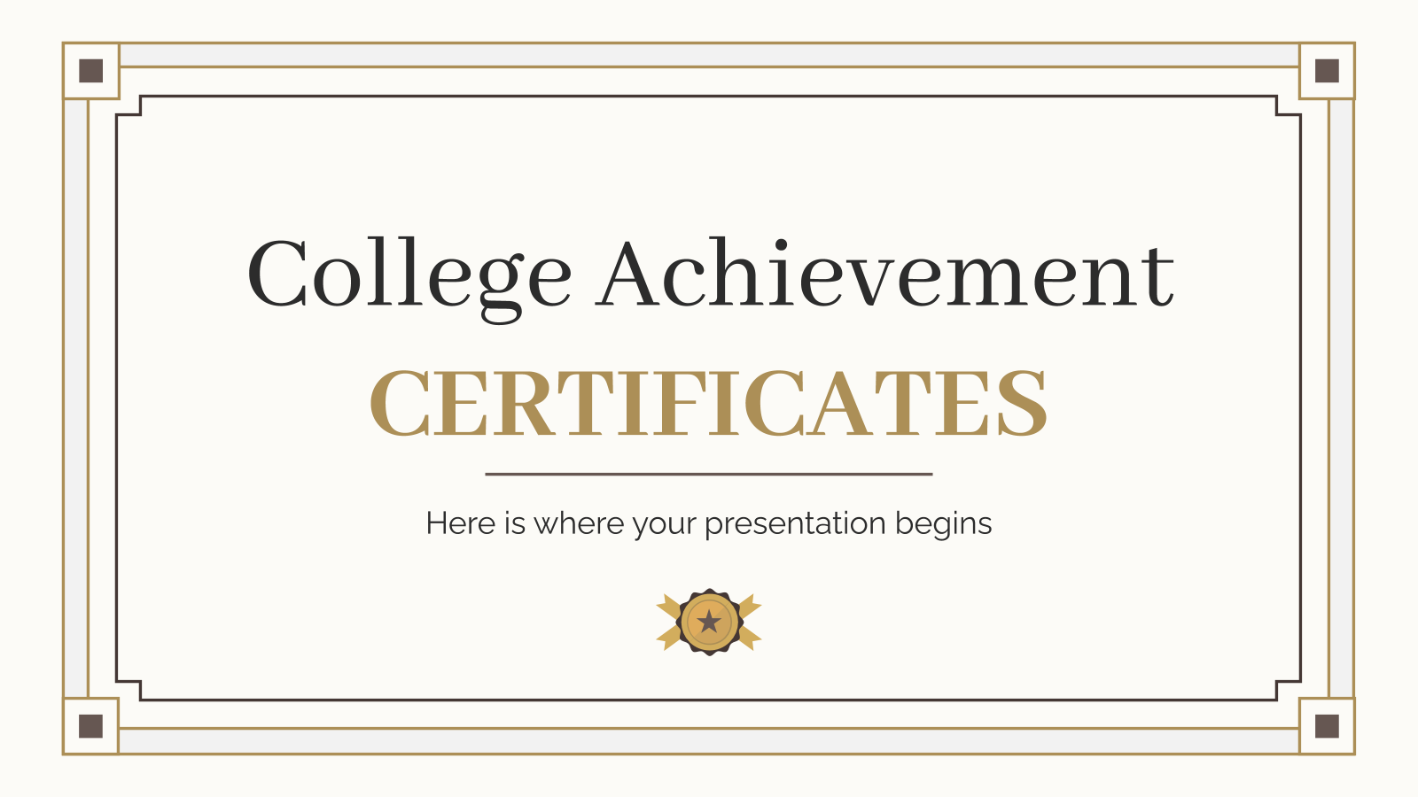 College Achievement Certificates presentation template