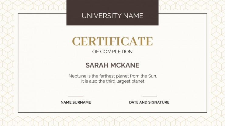 College Achievement Certificates presentation template