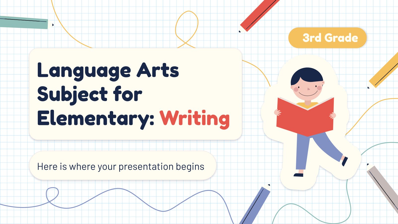 Language Arts Subject for Elementary - 3rd Grade: Writing presentation template