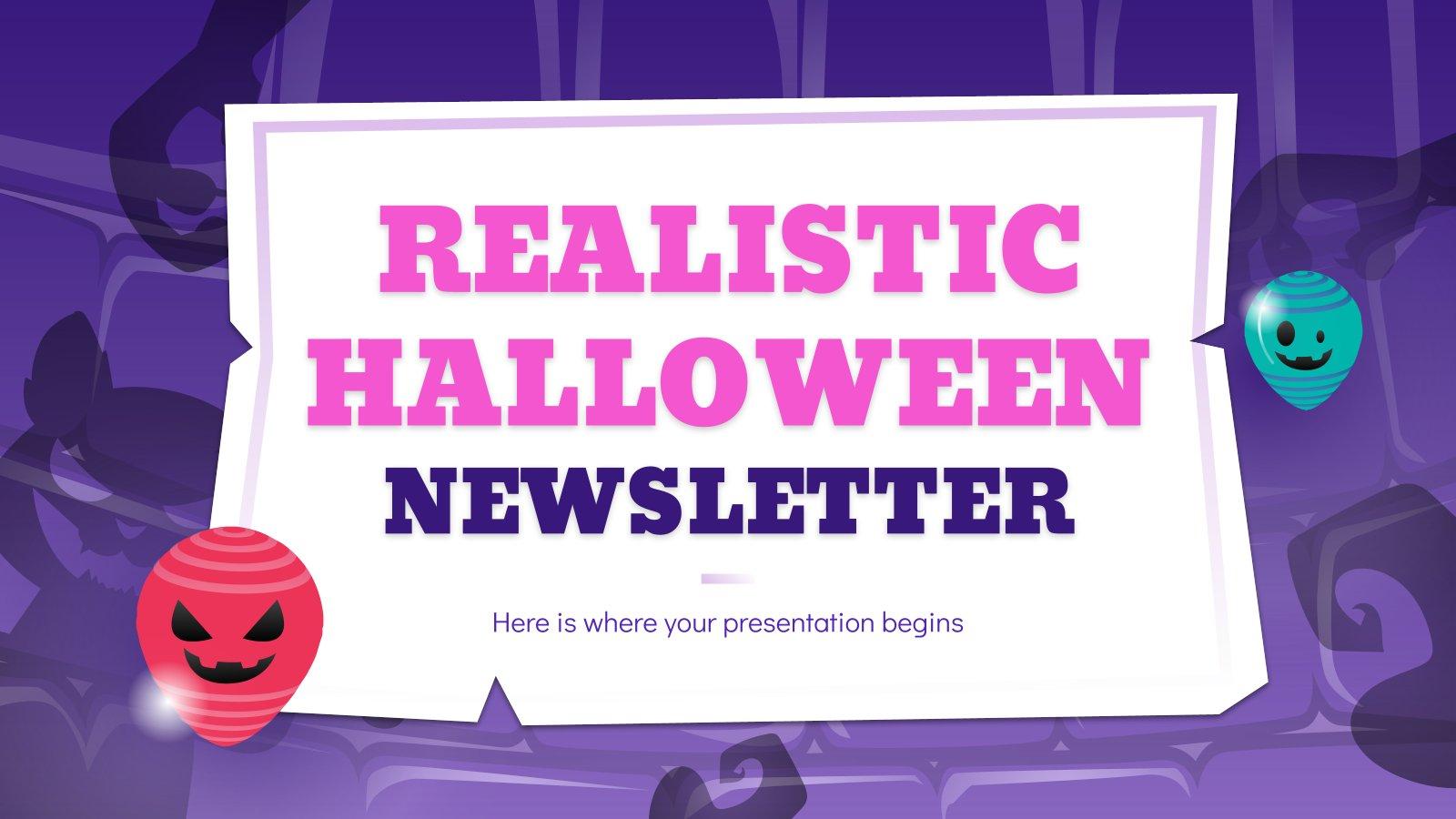 Realistischer Halloween-Newsletter Präsentationsvorlage
