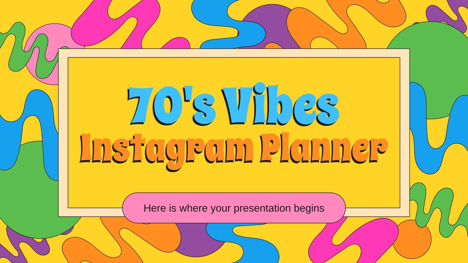 Modelo de apresentação Planejador para Instagram estilo anos 70