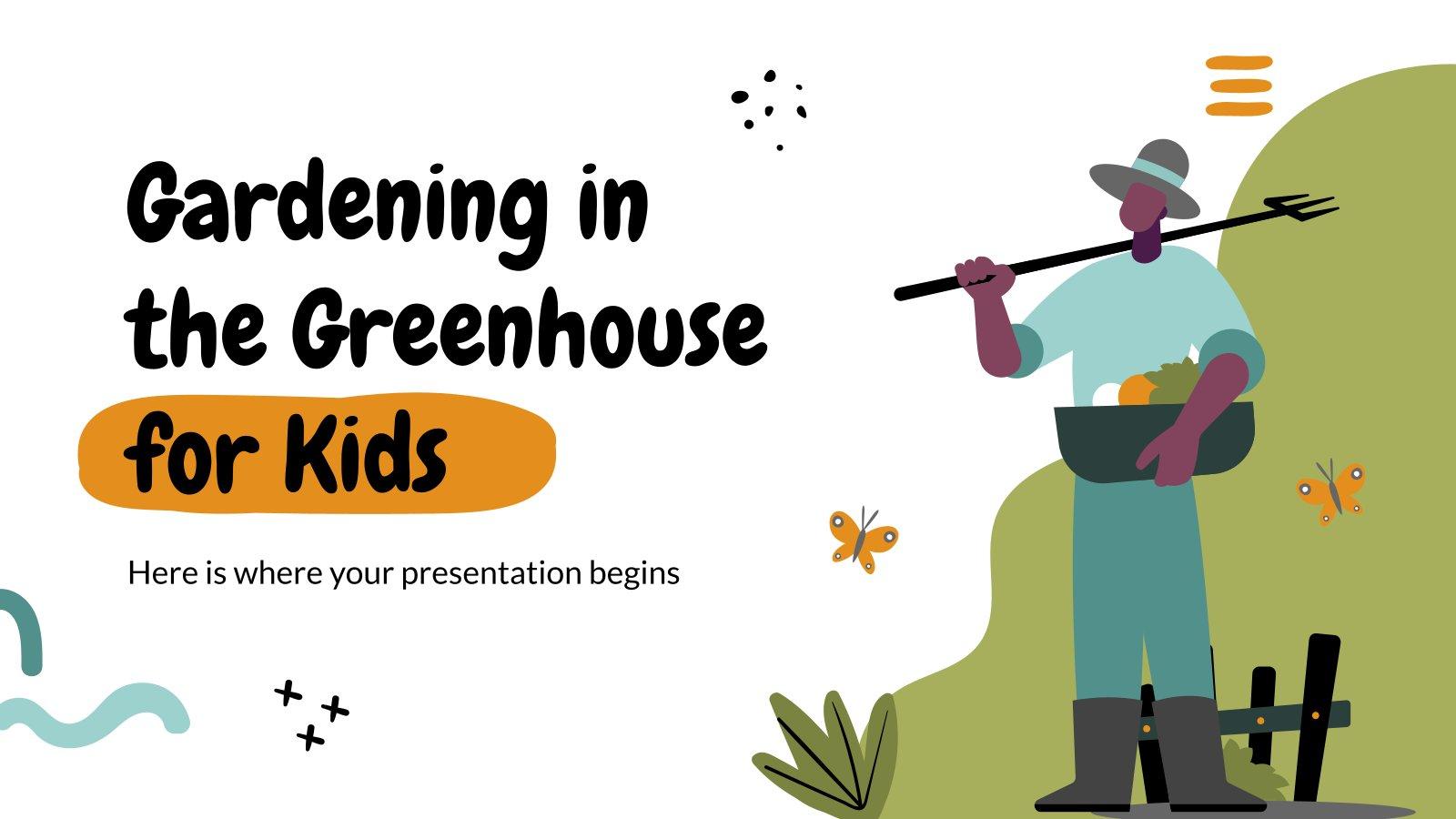 Gärtnern im Gewächshaus für Kinder Präsentationsvorlage