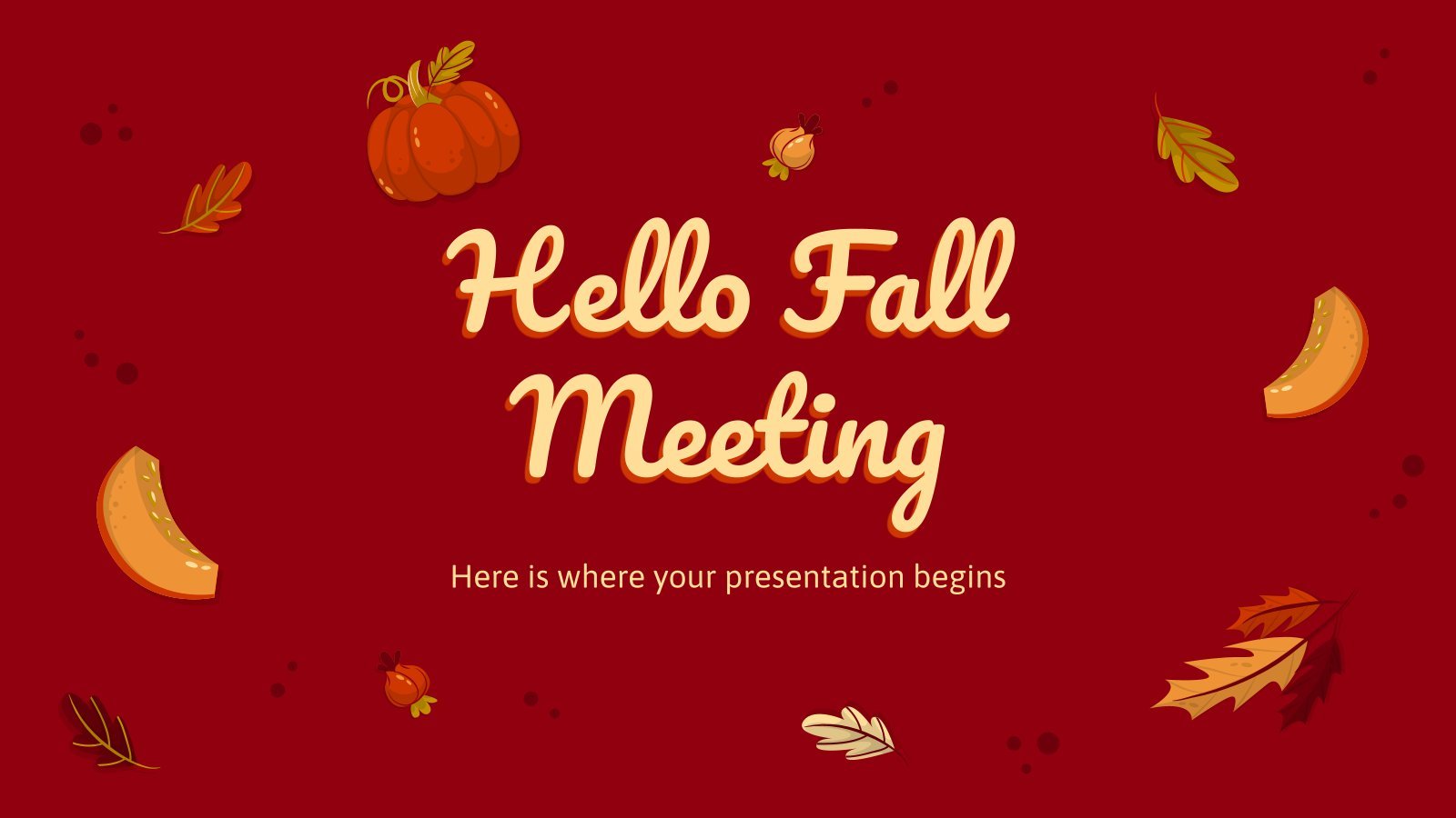Plantilla de presentación Reunión: Hola, otoño