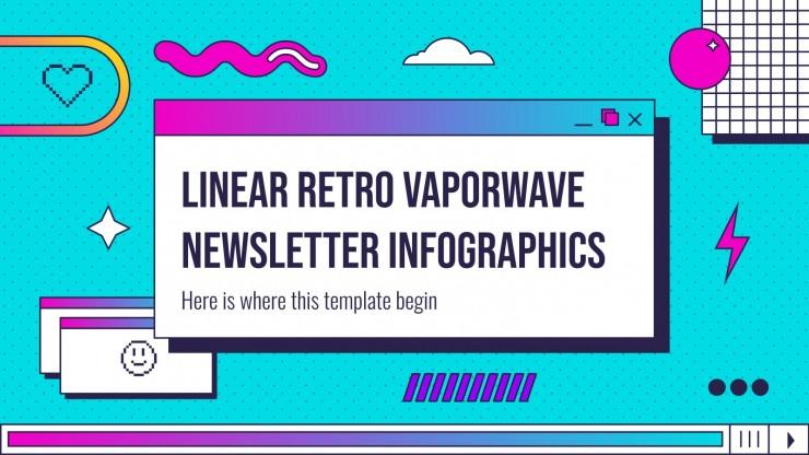 Infográficos boletim linear retrô vaporwave