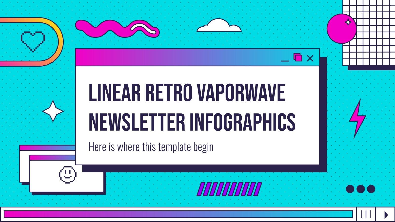 Modelo de apresentação Infográficos boletim linear retrô vaporwave