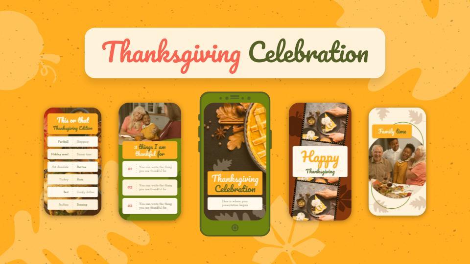 Thanksgiving Celebration IG Stories for Marketing presentation template