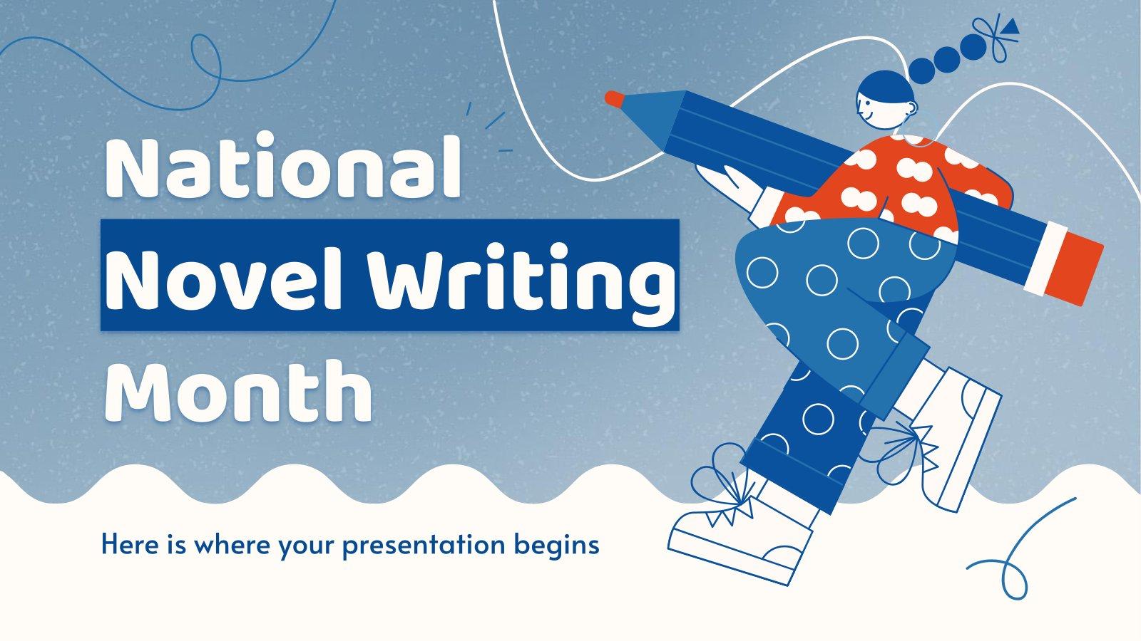 Nationaler Monat des Romanschreibens Präsentationsvorlage