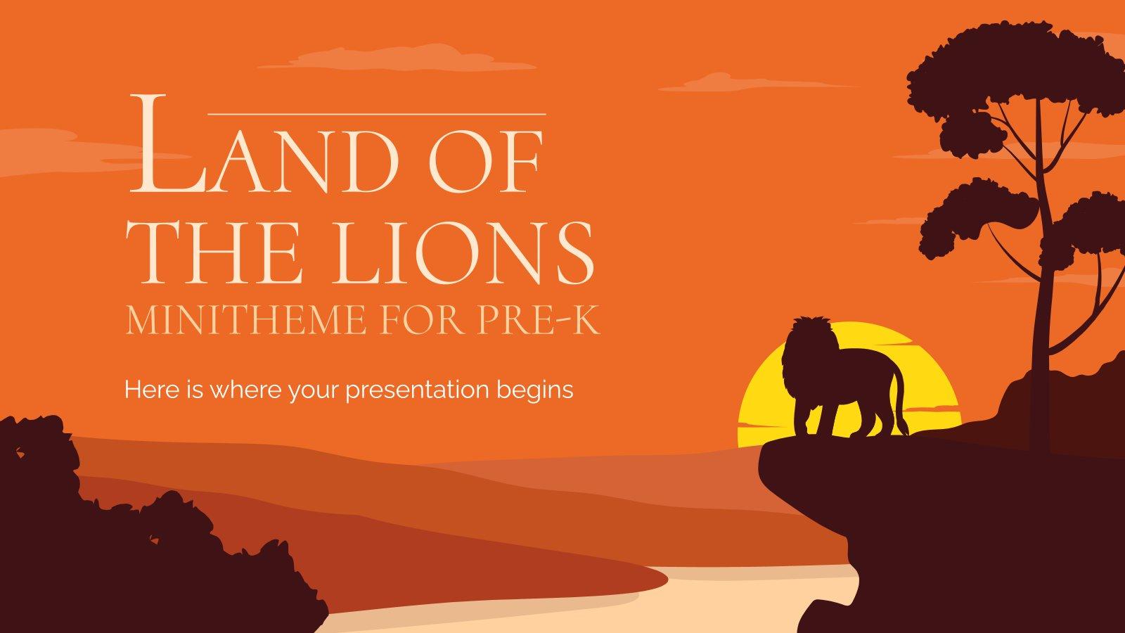 Modelo de apresentação Minitema da Terra dos Leões para pré-escola