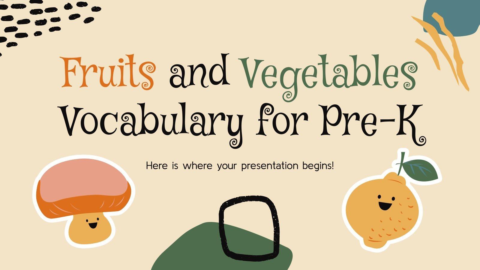 Plantilla de presentación Vocabulario sobre frutas y verduras para preescolar