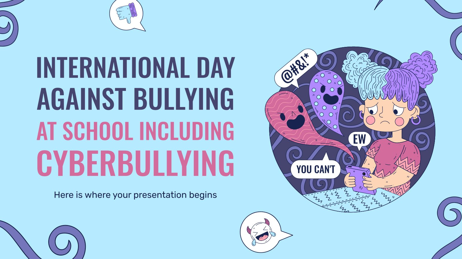 Journée internationale contre la violence et le harcèlement en milieu scolaire, y compris le cyber-harcèlement : Modèles de présentation