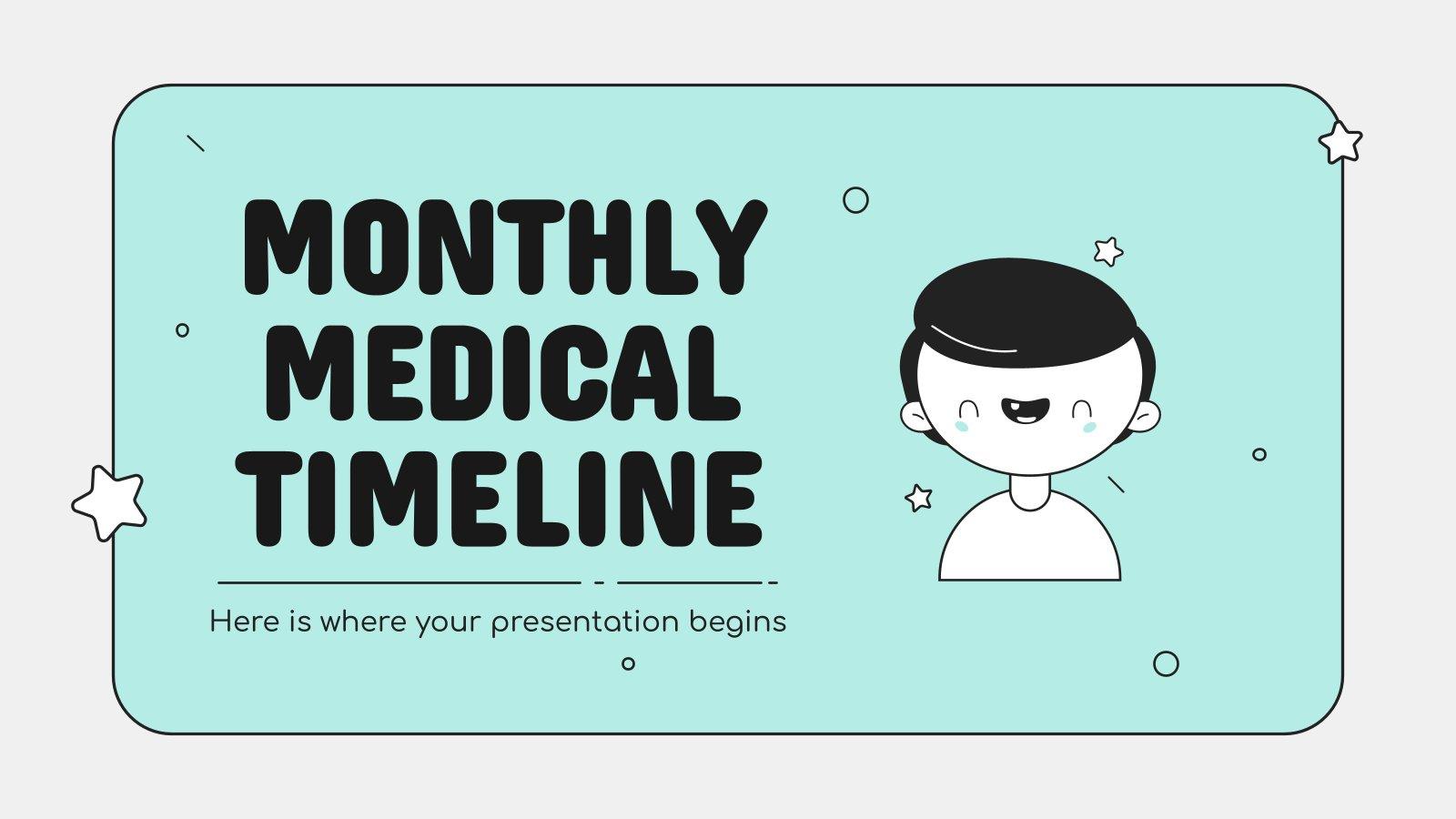Monatliche medizinische Zeitleiste Präsentationsvorlage