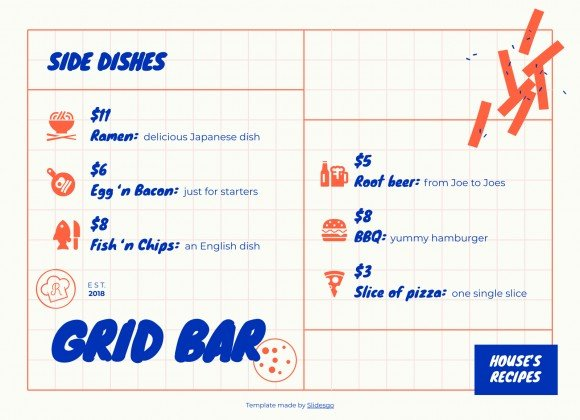 Grid Bar Menu presentation template