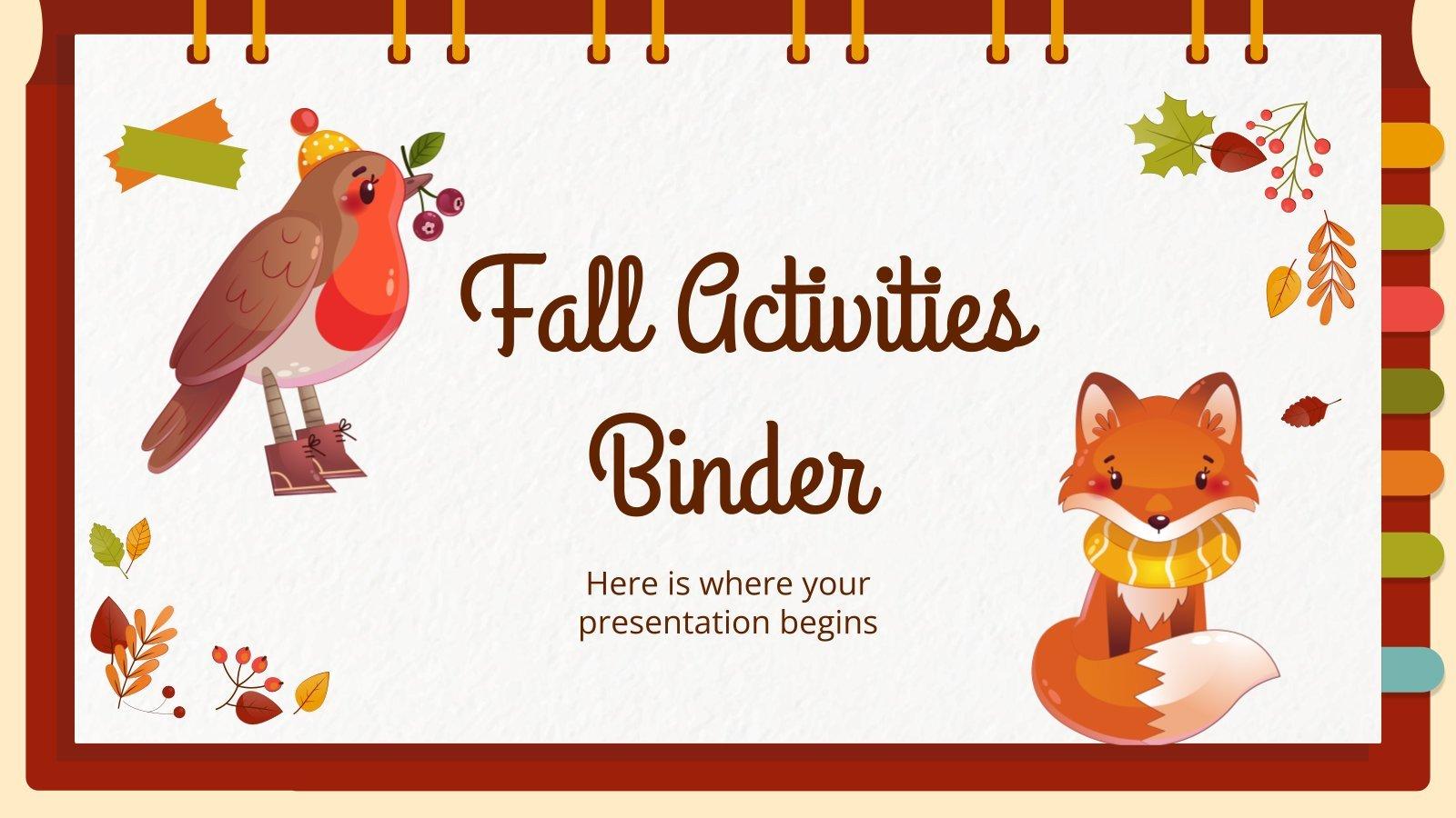 Plantilla de presentación Binder con actividades para otoño